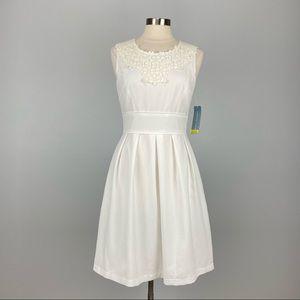 London Times White Seersucker Sleeveless Dress 10